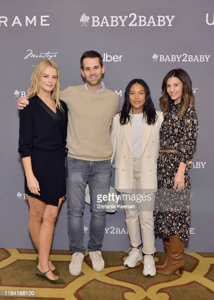Kelly Sawyer Patricof, Jens Grede, Emma Grede and Norah Weinstein attend The Baby2Baby Holiday Party Presented By FRAME And Uber at Montage Beverly...