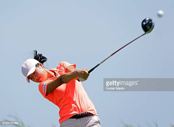 Kelly Shon hits her tee shot on the third hole during the final round of the ShopRite LPGA Classic presented by Acer on the Bay Course at the...