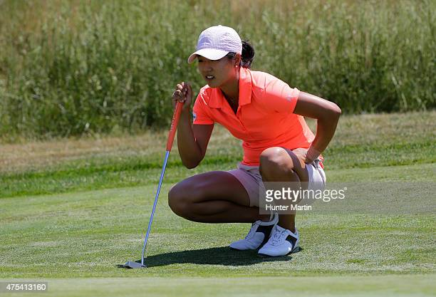 Kelly Shon lines up her putt on the third hole during the final round of the ShopRite LPGA Classic presented by Acer on the Bay Course at the...