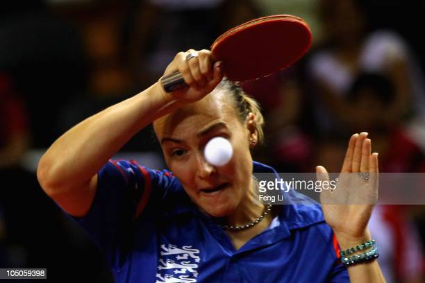 Kelly Sibley of England competes in the Women's Team bronze match at Yamuna Sports Complex during day five of the Delhi 2010 Commonwealth Games on...