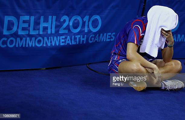 Kelly Sibley of England cries after losing table tennis Women's Team bronze match at Yamuna Sports Complex during day five of the Delhi 2010...