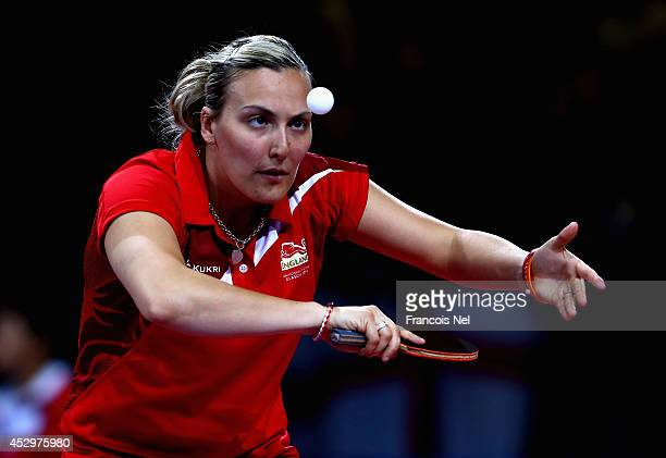 Kelly Sibley of England in action during the mixed doubles Quarter Final match at Scotstoun Sports Campus during day eight of the Glasgow 2014...