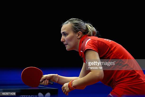 Kelly Sibley of England in action during the Women's Doubles table tennis at Scotstoun Sports Campus during day eight of the Glasgow 2014...