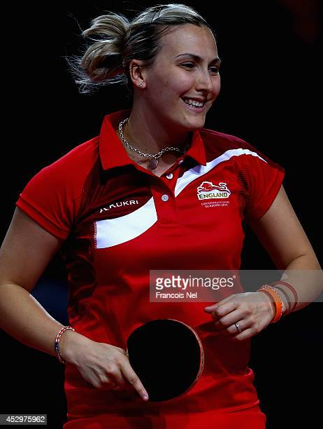 Kelly Sibley of England reacts during the mixed doubles Quarter Final match at Scotstoun Sports Campus during day eight of the Glasgow 2014...
