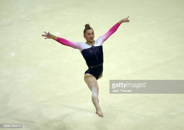 Kelly Simm of Great Britain competes in the floor exercise during Rotation 1 of the Team Women event qualification subdivision 4 during the Team...