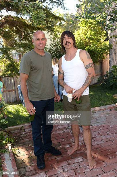 Kelly Slater and Anthony Kiedis attend Kelly Slater John Moore and Friends celebrate the launch of Outerknown at Private Residence on August 29 2015...
