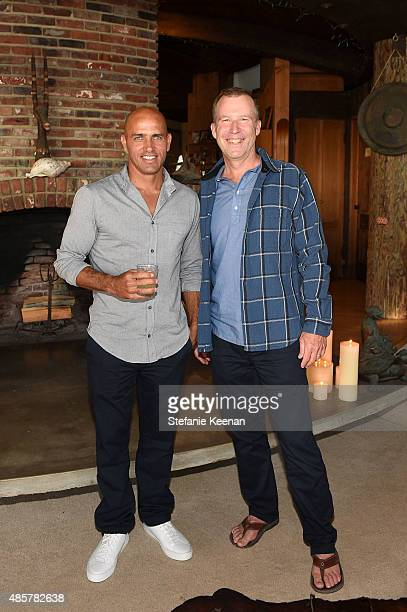 Kelly Slater and Doug MacKenzie attend Kelly Slater John Moore and Friends Celebrate the Launch of Outerknown at Private Residence on August 29 2015...