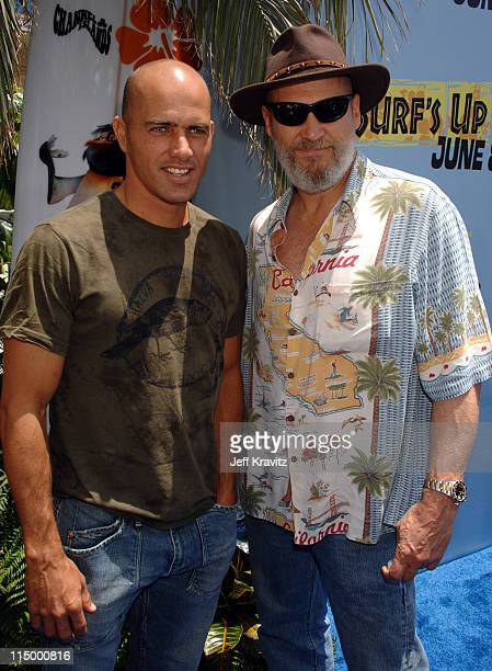 Kelly Slater and Jeff Bridges during 'Surf's Up' Los Angeles Premiere Red Carpet at Mann Village Theater in Westwood California United States