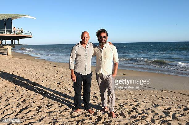 Kelly Slater and John Moore attend Kelly Slater John Moore and Friends Celebrate the Launch of Outerknown at Private Residence on August 29 2015 in...