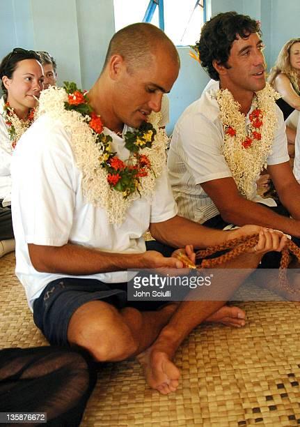 Kelly Slater and Jon Roseman during Kelly Slater Invitational Fiji Day 2 Mome Village Tour in Mome Village Tavarua Island Fiji