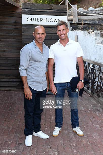Kelly Slater and Pierre Labasque attend Kelly Slater John Moore and Friends Celebrate the Launch of Outerknown at Private Residence on August 29 2015...
