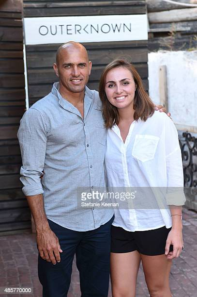 Kelly Slater and Taylor Slater attend Kelly Slater John Moore and Friends Celebrate the Launch of Outerknown at Private Residence on August 29 2015...