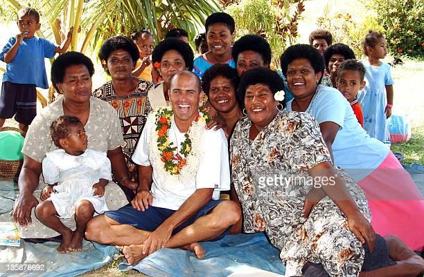 Kelly Slater and village teachers during Kelly Slater Invitational Fiji Day 2 Mome Village Tour in Mome Village Tavarua Island Fiji