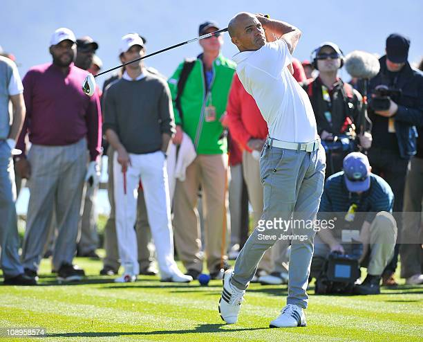 Kelly Slater attends the ATT Pebble Beach National ProAm at Pebble Beach Golf Links on February 9 2011 in Pebble Beach California