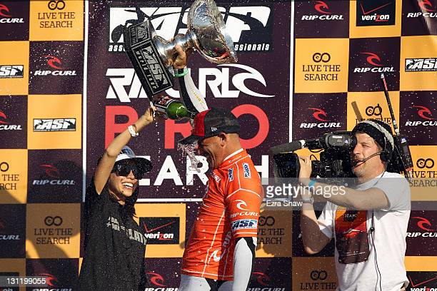 Kelly Slater celebrates after winning the 2011 ASP Men's World Title by winning his heat in round three of the Rip Curl Pro Search on November 2 2011...
