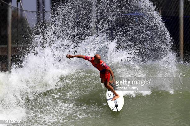 Kelly Slater competes during the qualifying round of the World Surf League Surf Ranch Pro on September 6 2018 in Lemoore California