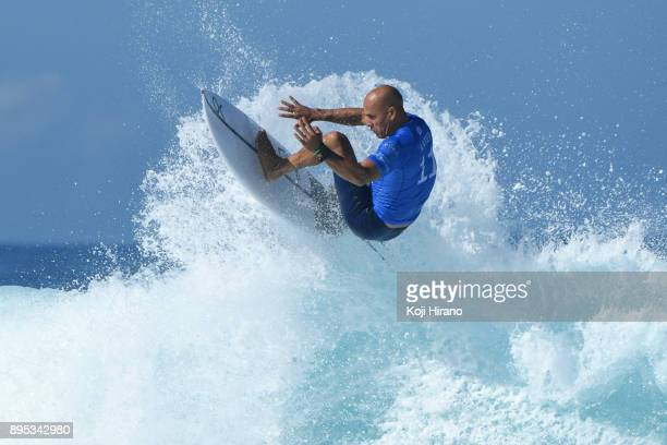 Kelly Slater competes in the 2017 Billabong Pipe Masters on December 18 2017 in Pupukea Hawaii