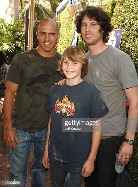 Kelly Slater Jon Heder and guest during 'Surf's Up' Los Angeles Premiere After Party in Westwood California United States
