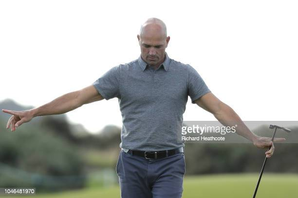 Kelly Slater makes a birdie on the 16th during day three of the 2018 Alfred Dunhill Links Championship at Carnoustie Golf Links on October 6 2018 in...