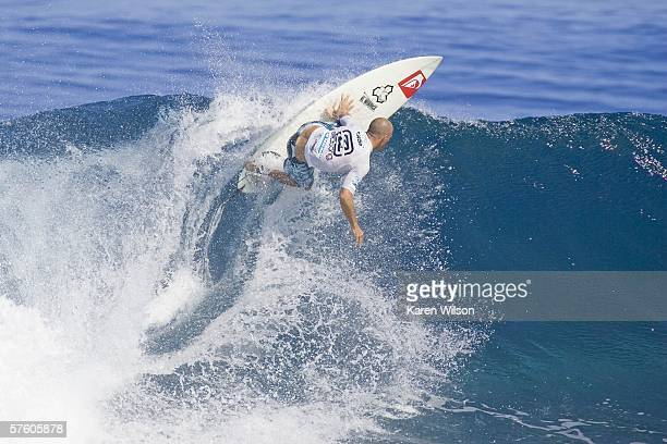 Kelly Slater of Cocoa Beach Florida USA competes in the Billabong Pro on May 13 2006 in Teahupoo Tahiti Slater finished equal third at the Billabong...