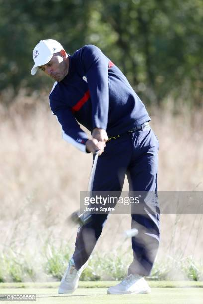 Kelly Slater of Team USA plays a shot during the celebrity challenge match ahead of the 2018 Ryder Cup at Le Golf National on September 25 2018 in...
