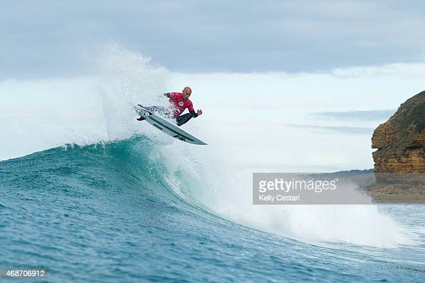 Kelly Slater of the United States advanced into Round 4 of the RipCurl Pro Bells Beach on April 6, 2015 in Bells Beach, Australia.