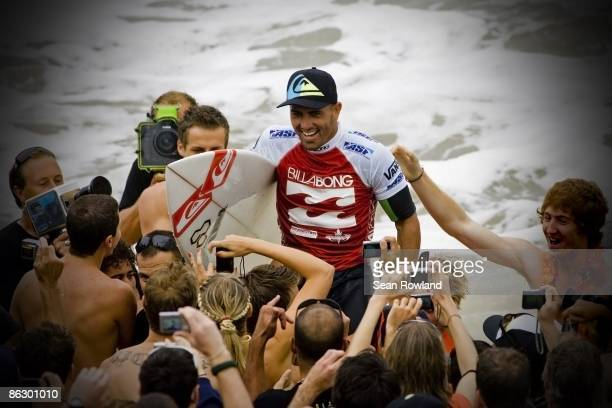 Kelly Slater of the United States celebrates his win during the Billabong Pipeline Masters on December 12 2008 in North Shore Hawaii