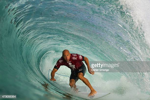 Kelly Slater of the United States of America surfs during his Round 1 heat at the Oi Rio Pro on May 12 2015 in Rio de Janeiro Brazil