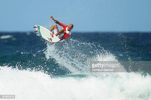 Kelly Slater of the United States performs an air during an aerial expression session on day one of Surfsho at Bondi Beach on March 12 2010 in Sydney...