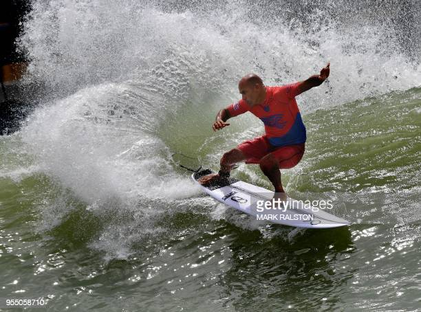 8fa0f6b65b Kelly Slater of the US does a cutback during round one of the World Surf  League