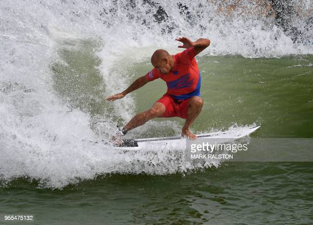 Kelly Slater of the US does a cutback during the final of the WSL Founders' Cup of Surfing at the Kelly Slater Surf Ranch in Lemoore California on...