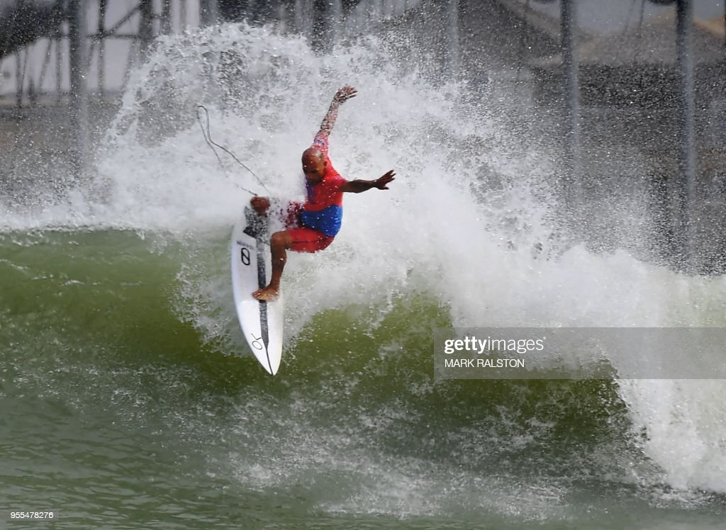 7ceaa055c4 Kelly Slater of the US does a cutback during the final of the WSL ...
