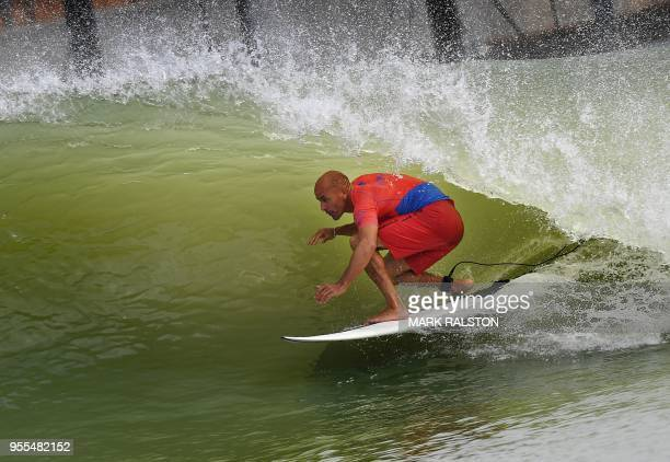 d685ab8740 Kelly Slater of the US in the tube during the final of the WSL Founders