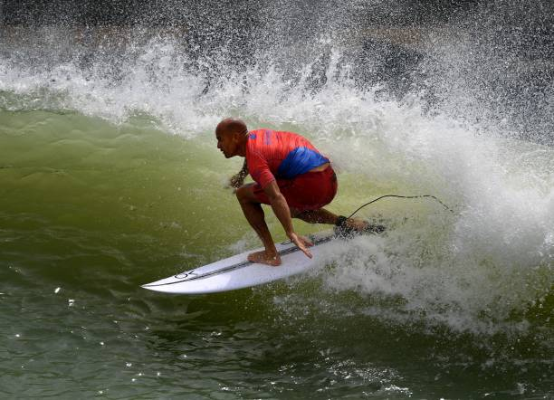 c065c3cc18 Kelly Slater of the US rides the wave during round one of the World Surf  League ...