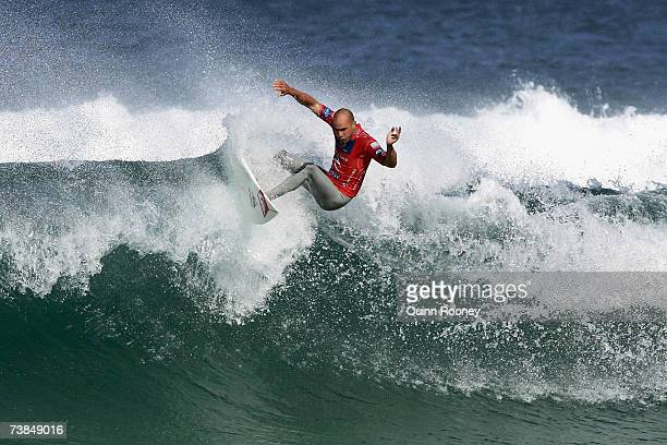 Kelly Slater of the USA carves on the lip of the wave during round three of the Rip Curl Pro on April 10 2007 at Johanna Beach Australia
