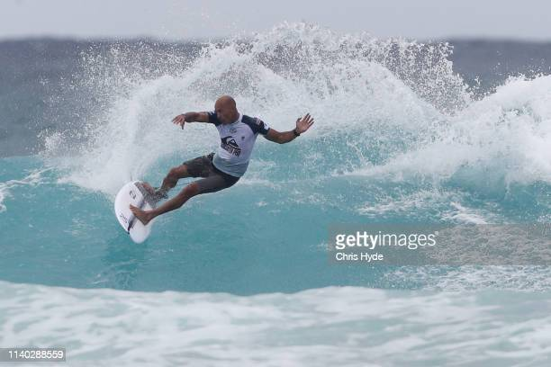 Kelly Slater of the USA surfs in Round 2 during the Quiksilver Pro and Boost Mobile Pro Gold Coast at Duranbah Beach on April 04 2019 in Duranbah...