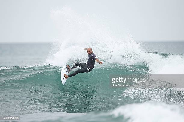 Kelly Slater of USA in action during his fifth round heat at 2016 Hurley Pro at Trestles at San Onofre State Beach on September 12 2016 in Lower...