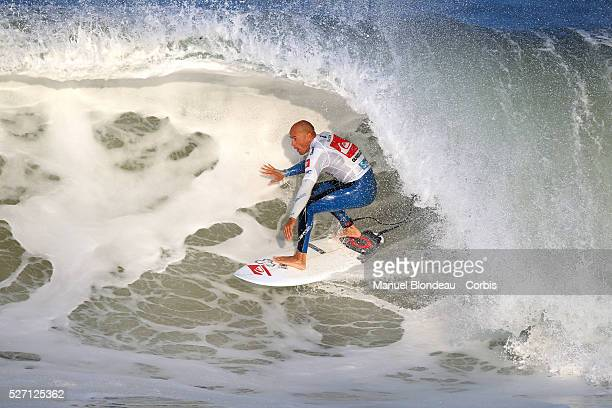 Kelly Slater of USA surfs during final round at the Quiksilver Pro France which is part of the ASP Men's World Champion Tour of Surfing on October 5...