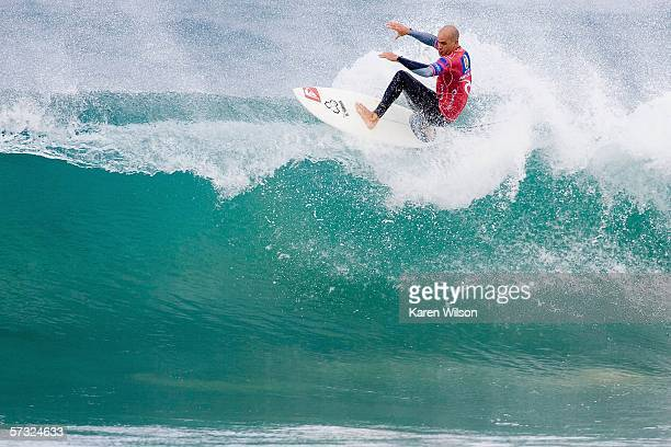 Kelly Slater of USA surfs during the Rip Curl Pro on April 12 2006 at Bells Beach in Victoria Australia