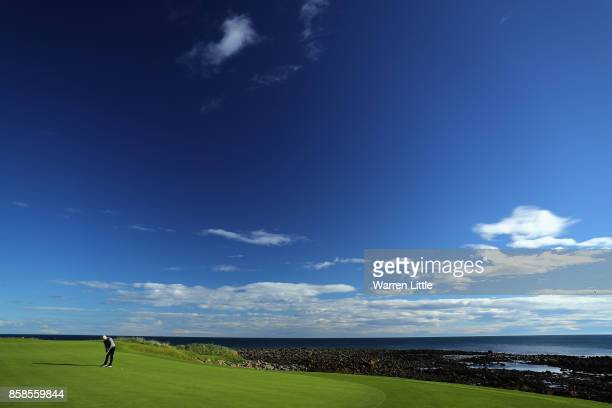 Kelly Slater, surfer putts on the 15th green during day three of the 2017 Alfred Dunhill Championship at Kingsbarns on October 7, 2017 in St Andrews,...