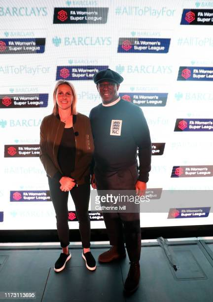 Kelly Smith and Ian Wright pose for a photo during the Barclays FA Women's Super League match between Chelsea and Tottenham Hotspur at Stamford...