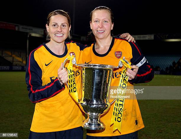 Kelly Smith and Jayne Ludlow of Arsenal LFC with the winners trophy after the FA Women's Premier League Cup Final between Arsenal and Doncaster...
