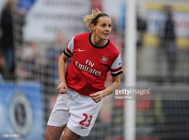 Kelly Smith celebrates scoring Arsenal's 3rd goal during the FA Women's Super League match between Arsenal Ladies FC and Doncaster Rovers Belles...