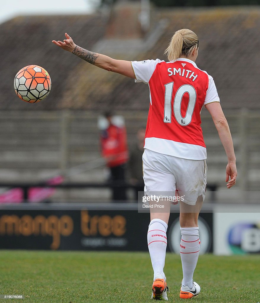 Kelly Smith of Arsenal Ladies during the match between Arsenal Ladies and Notts County Ladies at Meadow Park on April 3, 2016 in Borehamwood, England.