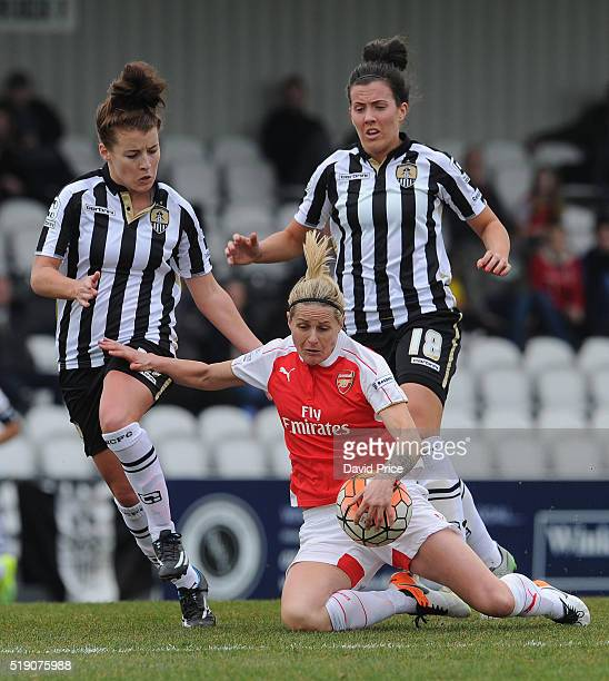 Kelly Smith of Arsenal Ladies takes on Angharad James and Leanne Crichton of Notts County during the match between Arsenal Ladies and Notts County...