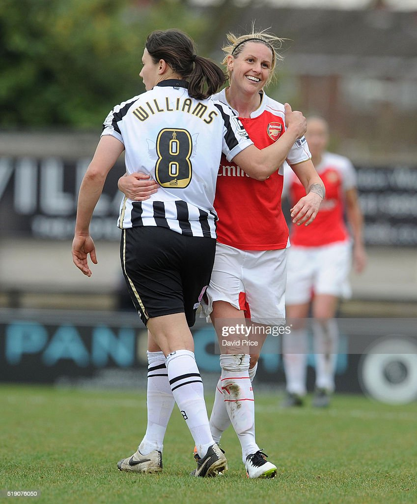 Kelly Smith of Arsenal Ladies with Rachel Williams of Notts County during the match between Arsenal Ladies and Notts County Ladies at Meadow Park on April 3, 2016 in Borehamwood, England.