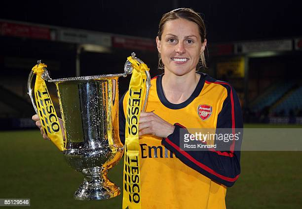 Kelly Smith of Arsenal LFC with the winners trophy after the FA Women's Premier League Cup Final between Arsenal and Doncaster Rovers Belles at...