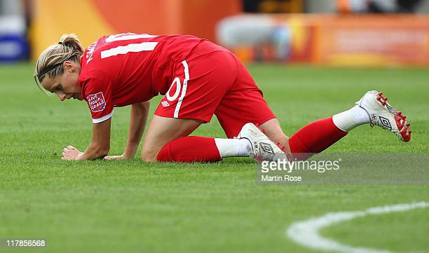Kelly Smith of England looks dejected during the FIFA Women's World Cup 2011 Group B match between New Zealand and England at RudolfHarbigStadion on...