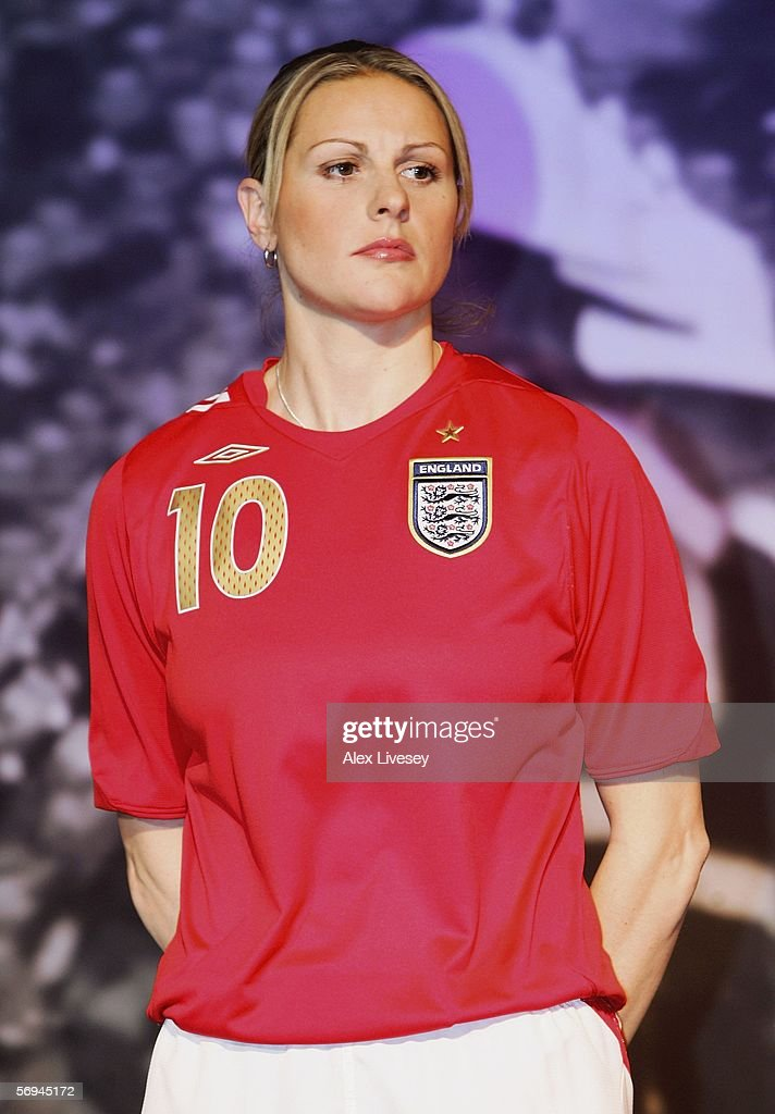 Kelly Smith of England models the new England kit during the