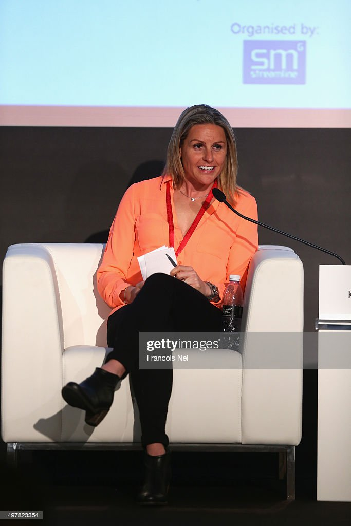 Kelly Smith, Professional Footballer for Arsenal Ladies FC speaks during day two of the Host Cities Summit at the Faimont Hotel on November 19, 2015 in Dubai, United Arab Emirates.